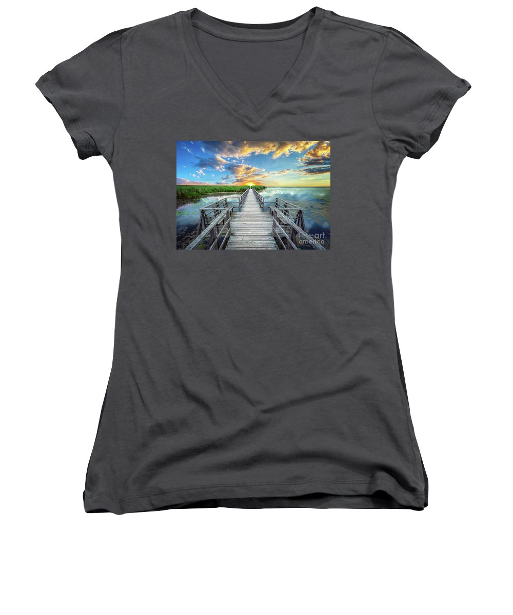 Blue Women's V-Neck featuring the photograph Wetland Marsh Sunrise Treasure Coast Florida Boardwalk A1 by Ricardos Creations