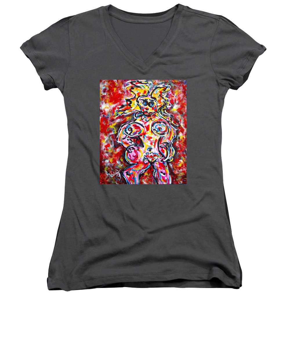 Abstracts Women's V-Neck T-Shirt featuring the painting What Are You Looking At by Natalie Holland
