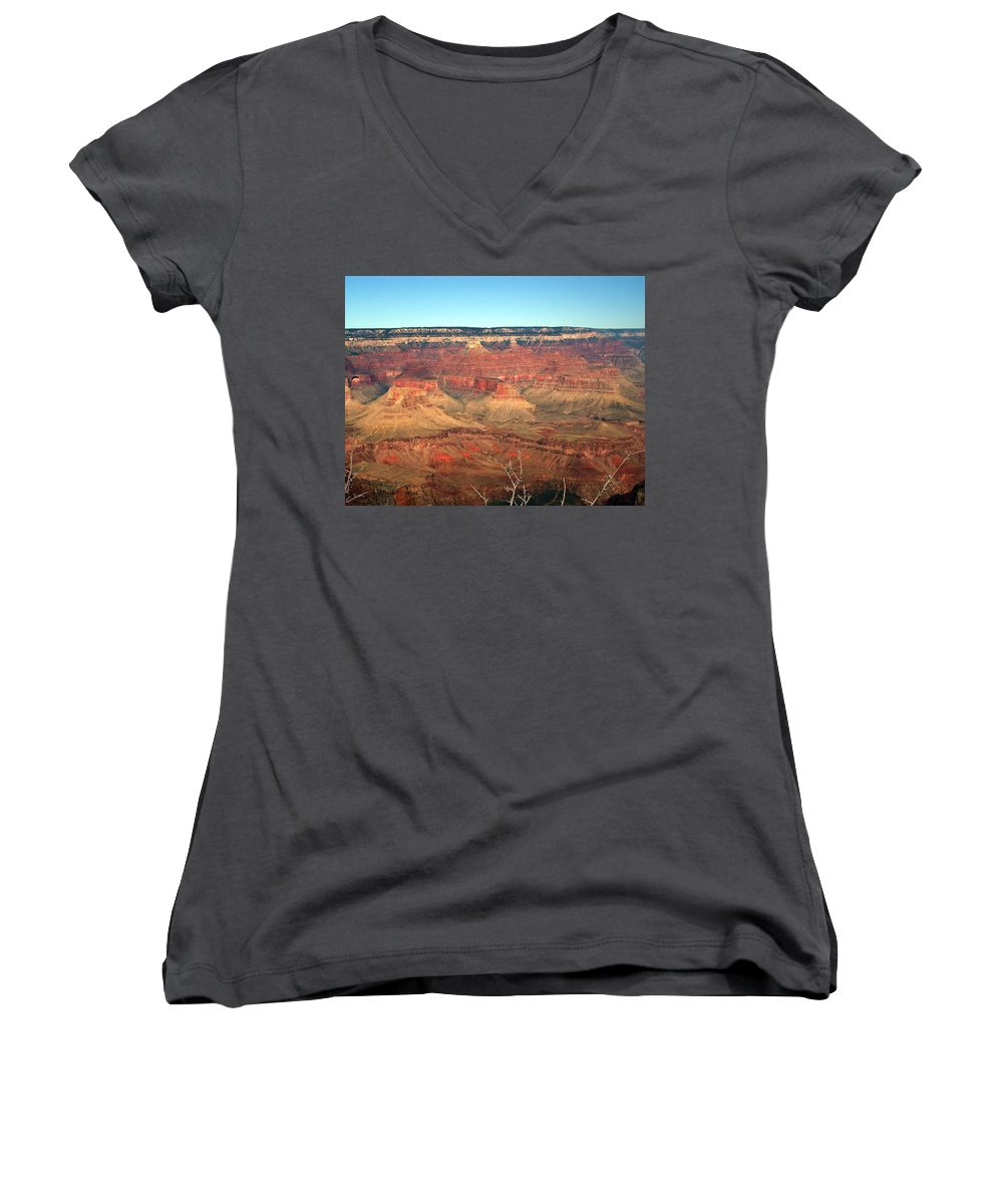 Grand Canyon Women's V-Neck T-Shirt featuring the photograph Whata View by Shelley Jones