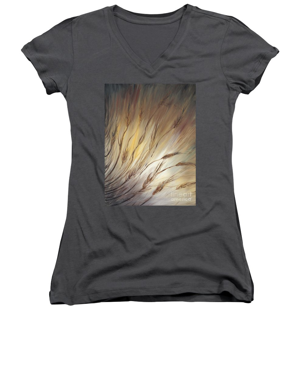 Wheat Women's V-Neck T-Shirt featuring the painting Wheat In The Wind by Nadine Rippelmeyer