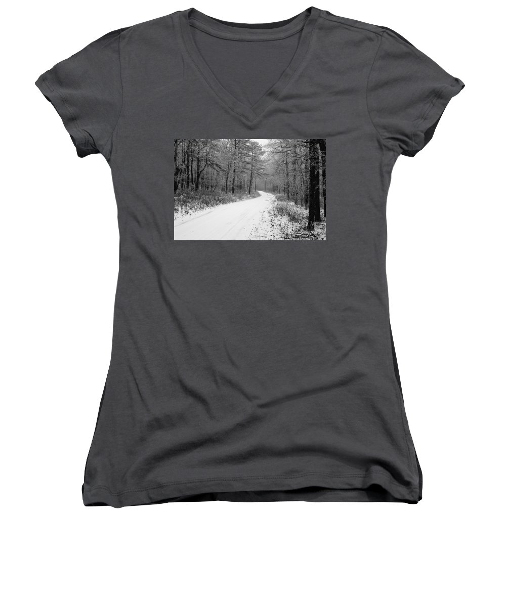 Winter Women's V-Neck (Athletic Fit) featuring the photograph Where Will It Lead by Jean Macaluso