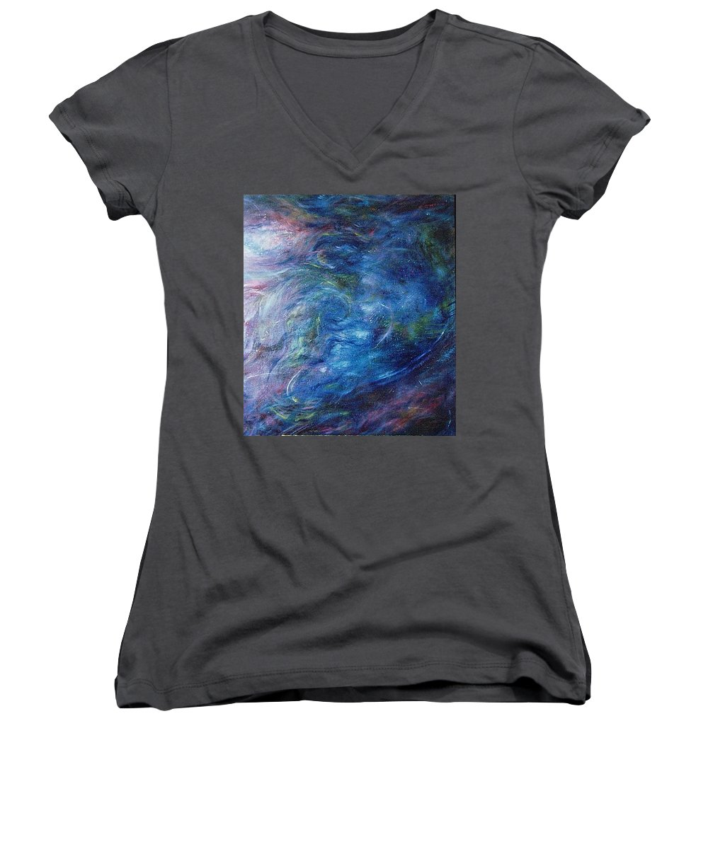 Abstract Women's V-Neck T-Shirt featuring the painting Whispers In A Sea Of Blue by Nancy Mueller