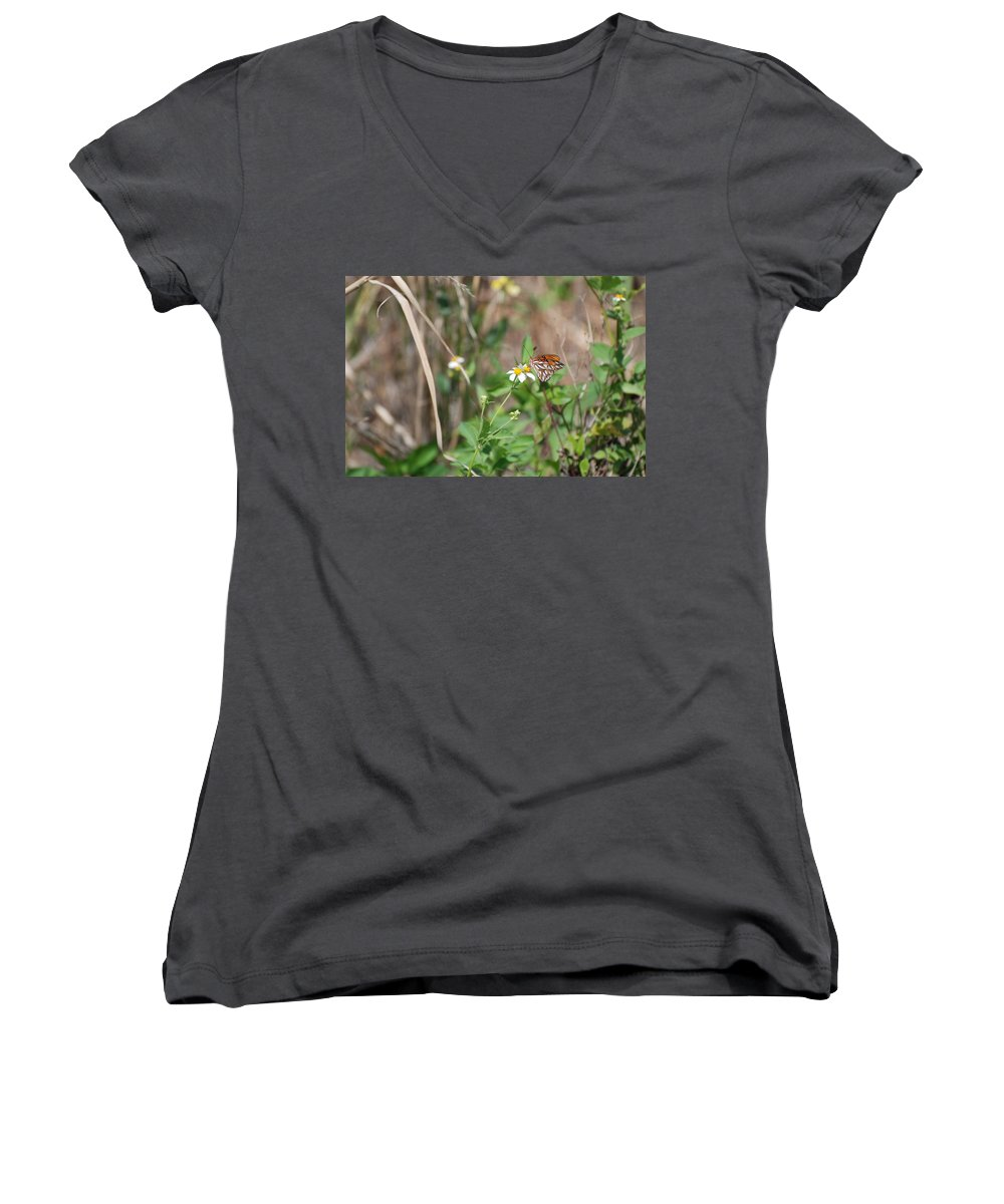 Butterfly Women's V-Neck (Athletic Fit) featuring the photograph White Butterfly by Rob Hans