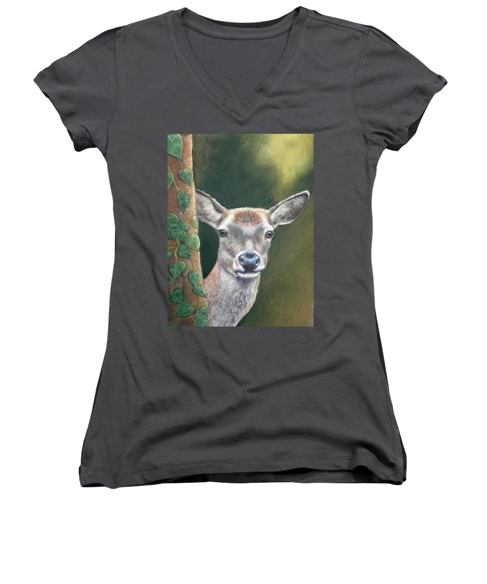 Rainforest Women's V-Neck T-Shirt featuring the painting White Tail Doe At Ancon Hill by Ceci Watson