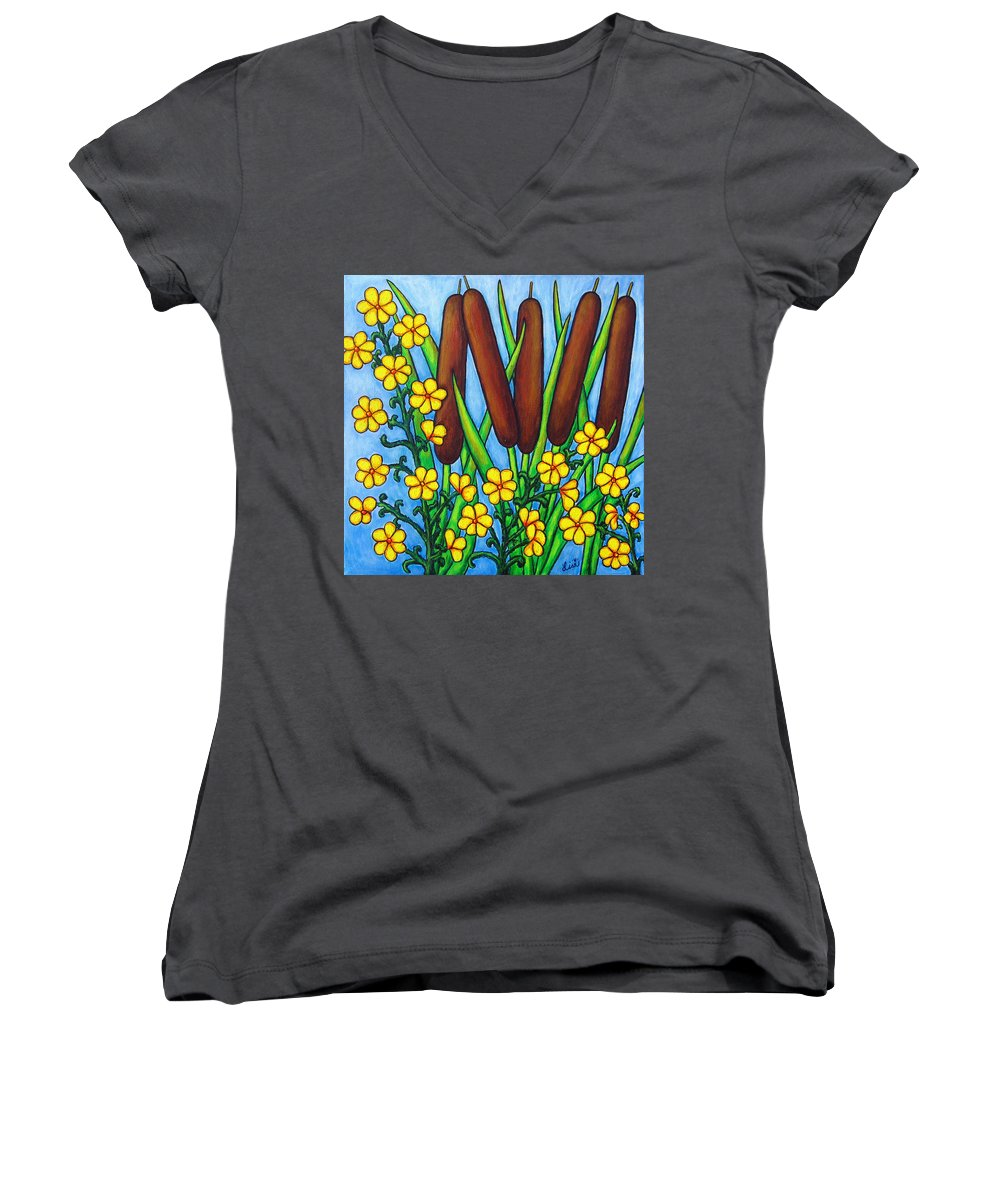 Cat Tails Women's V-Neck T-Shirt featuring the painting Wild Medley by Lisa Lorenz