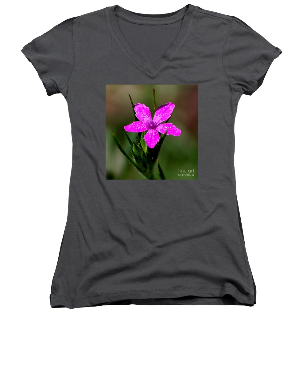 Digital Photo Women's V-Neck (Athletic Fit) featuring the photograph Wild Pink by David Lane