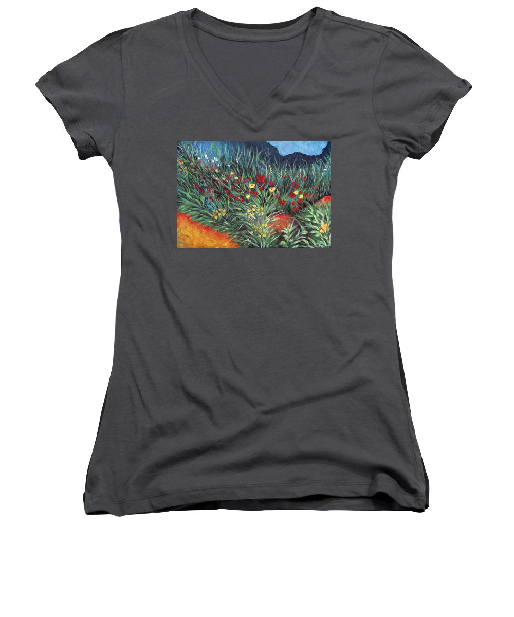 Landscape Women's V-Neck T-Shirt featuring the painting Wildflower Garden 2 by Nancy Mueller