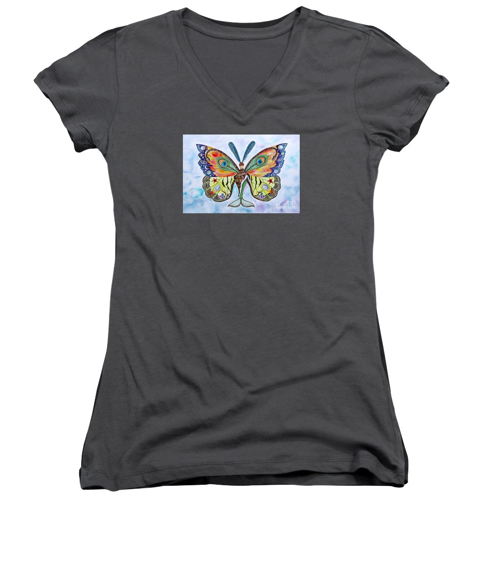 Butterfly Women's V-Neck T-Shirt featuring the painting Winged Metamorphosis by Lucy Arnold