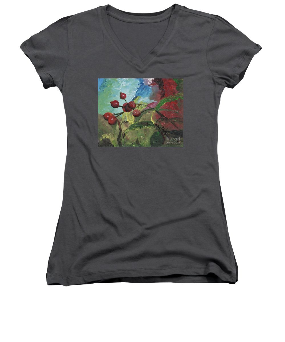 Berries Women's V-Neck T-Shirt featuring the painting Winter Berries by Nadine Rippelmeyer