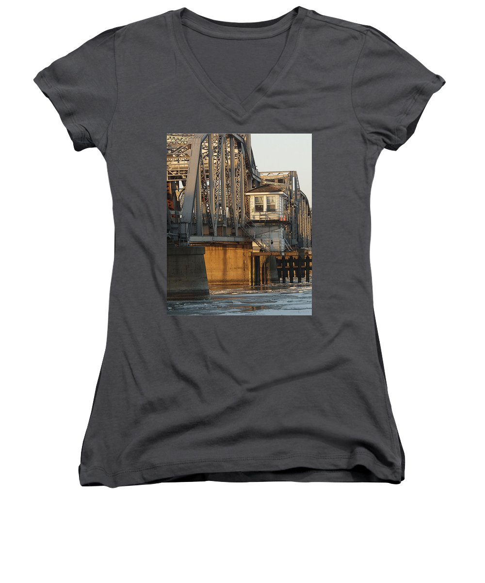 Bridge Women's V-Neck (Athletic Fit) featuring the photograph Winter Bridgehouse by Tim Nyberg