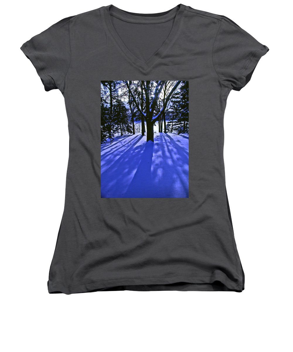 Landscape Women's V-Neck T-Shirt featuring the photograph Winter Shadows by Tom Reynen