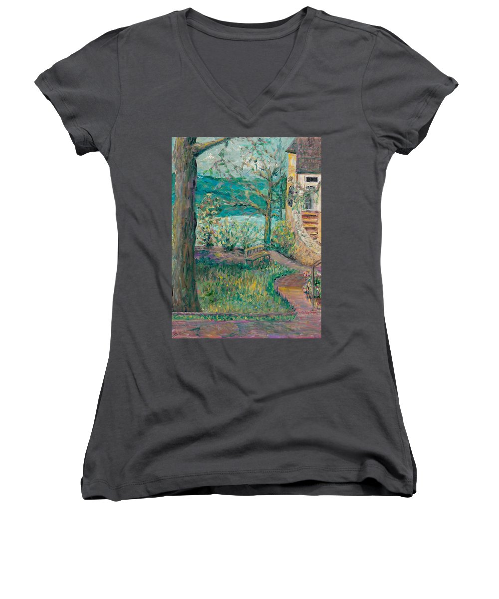 Big Cedar Lodge Women's V-Neck T-Shirt featuring the painting Worman House At Big Cedar Lodge by Nadine Rippelmeyer
