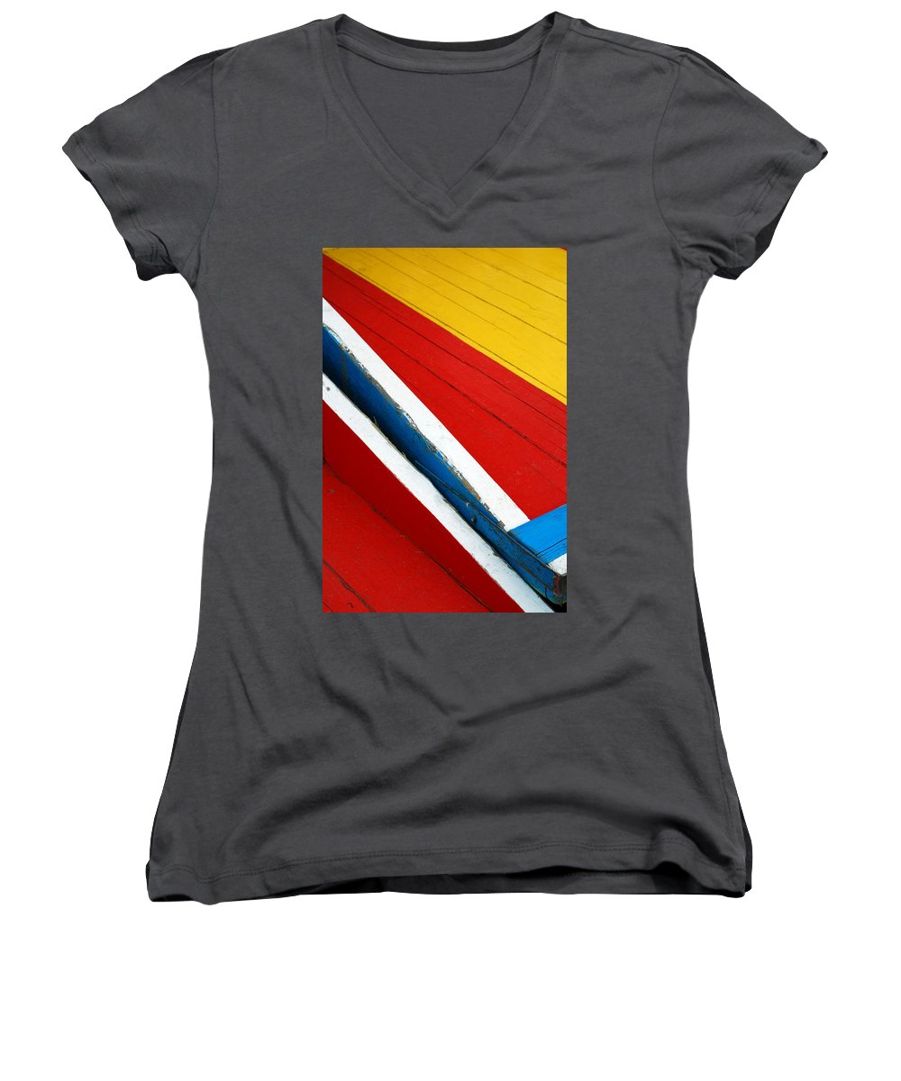 Red Women's V-Neck T-Shirt featuring the photograph Xochimilco Boat Abstract 1 by Skip Hunt