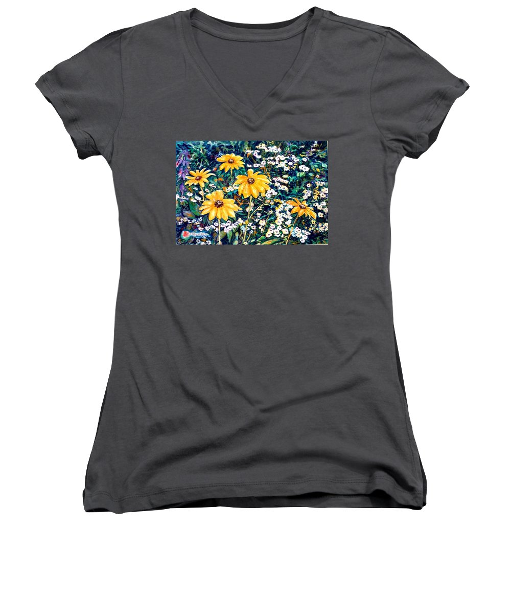 Daisies Women's V-Neck (Athletic Fit) featuring the painting Yellow Daisies by Norma Boeckler