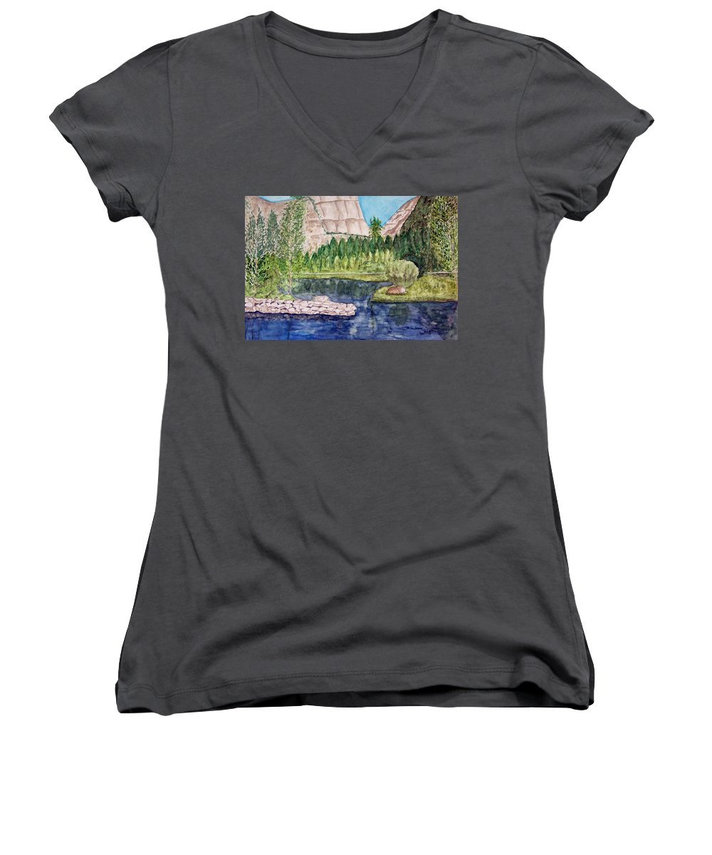 Yosemite National Park Women's V-Neck T-Shirt featuring the painting Yosemite by Larry Wright