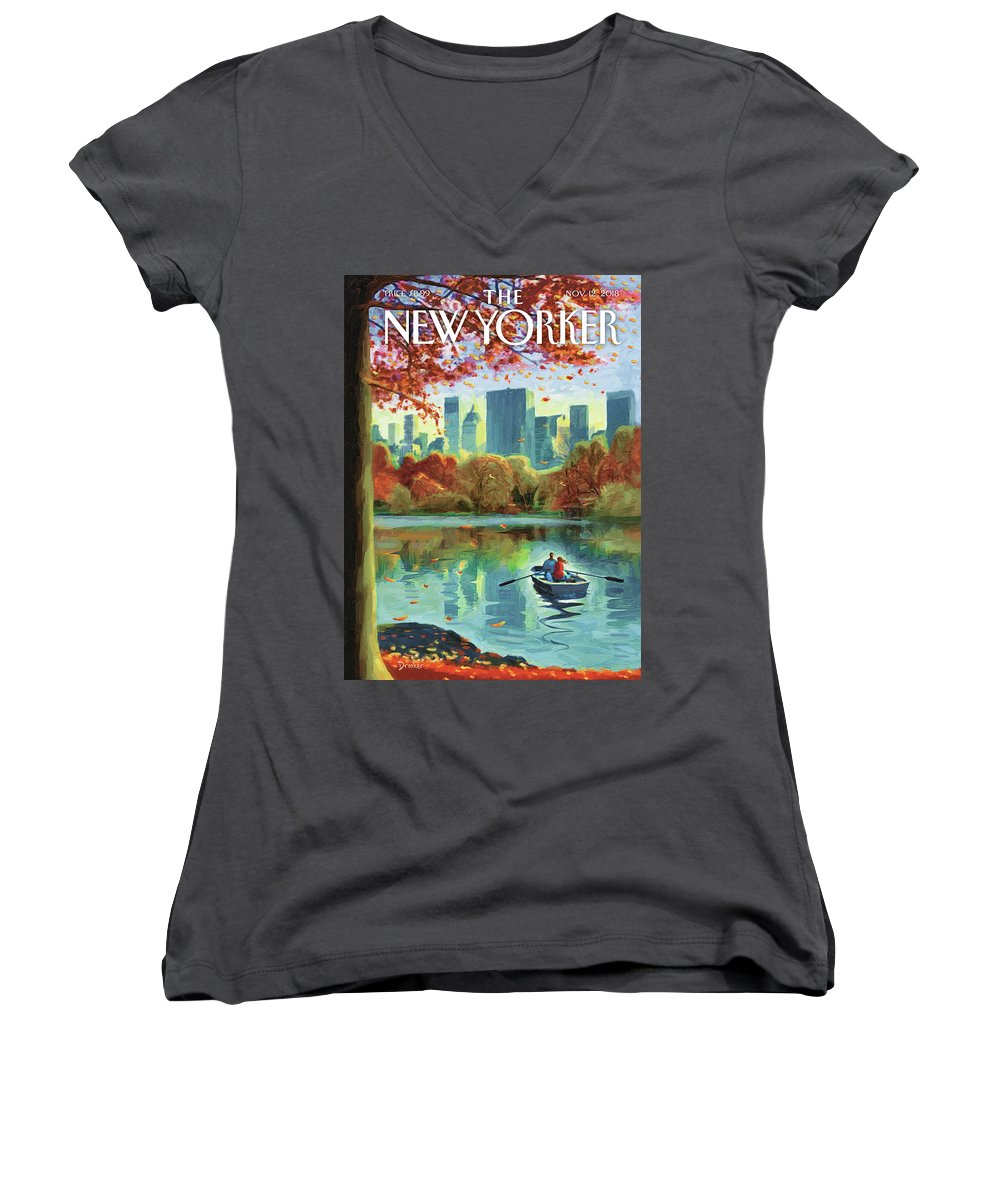 Autumn Central Park Women's V-Neck featuring the drawing Autumn Central Park by Eric Drooker