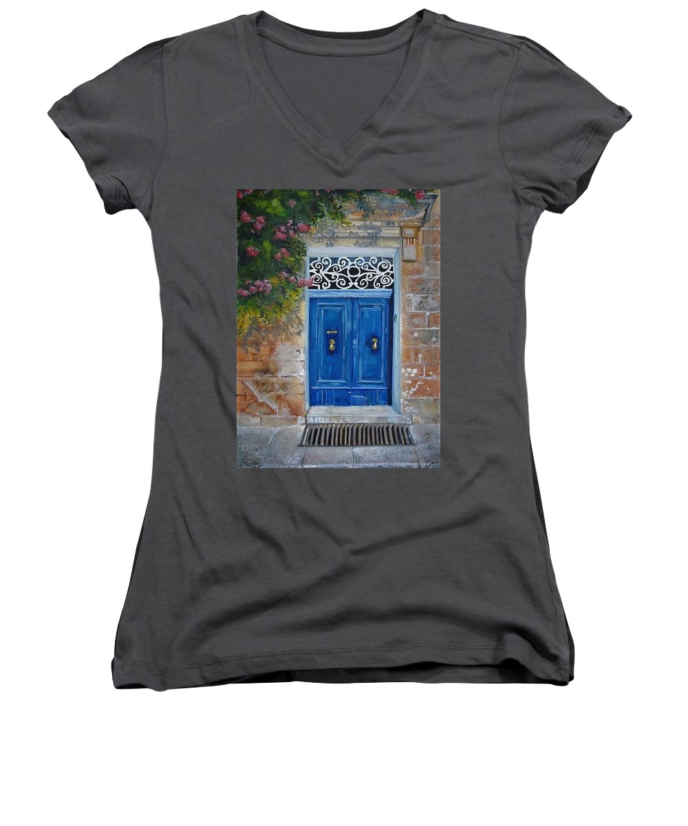 Malta Women's V-Neck featuring the painting Blue Door Malta by Lisa Cini