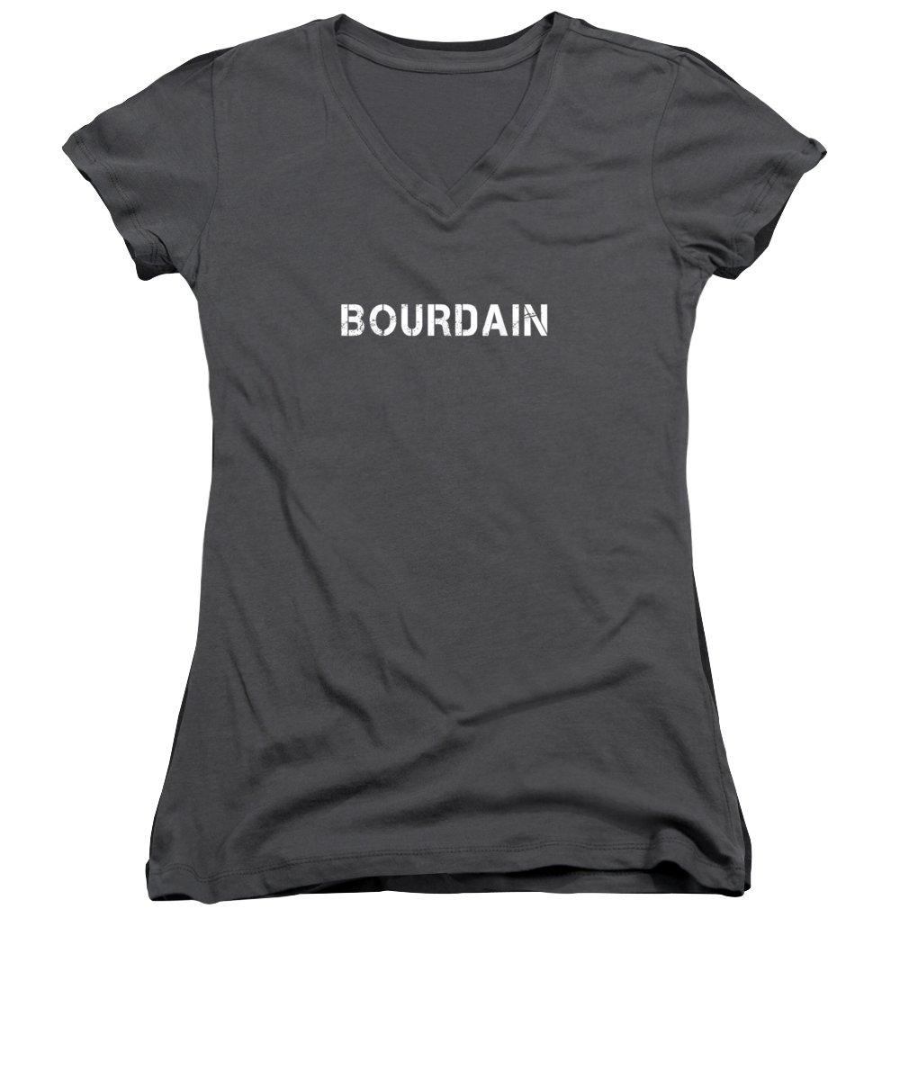 boys' Novelty Clothing Women's V-Neck featuring the digital art Bourdain by Unique Tees