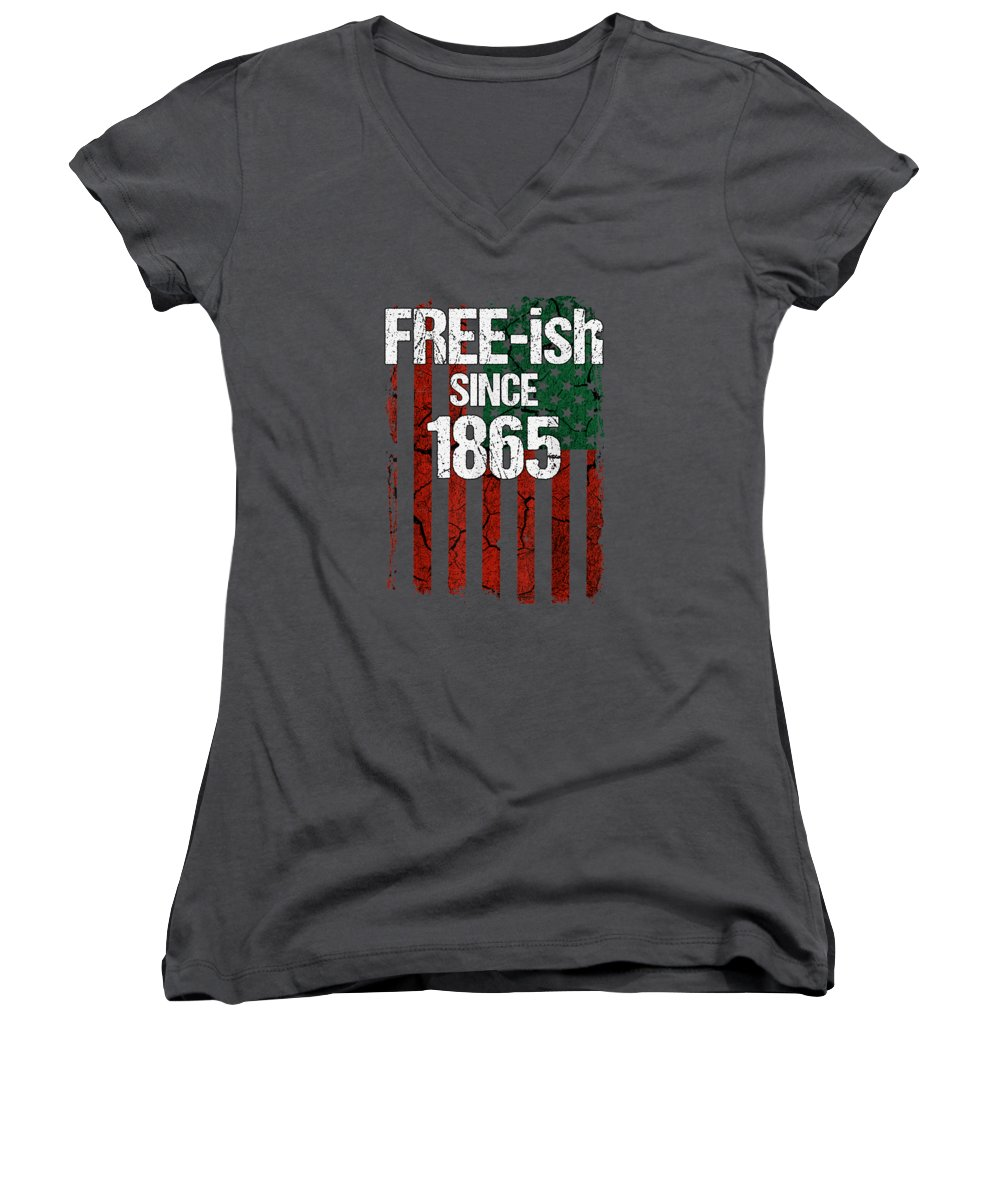 girls' Novelty T-shirts Women's V-Neck featuring the digital art Free-ish Since 1865 Juneteenth Day Flag Black Pride Tshirt by Unique Tees