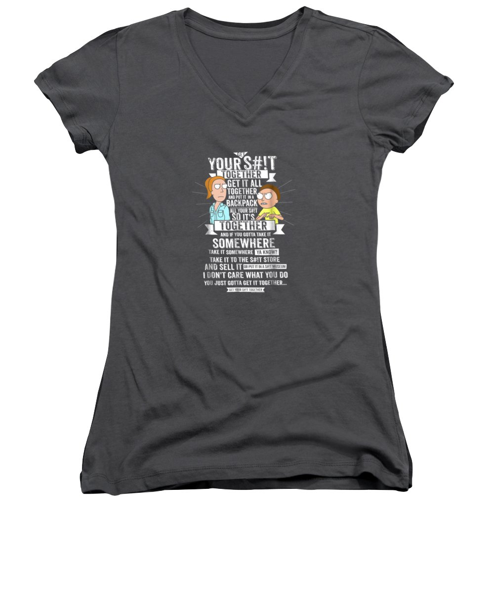 women's Shops Women's V-Neck featuring the digital art Get It Together - Rick And Morty by Unique Tees