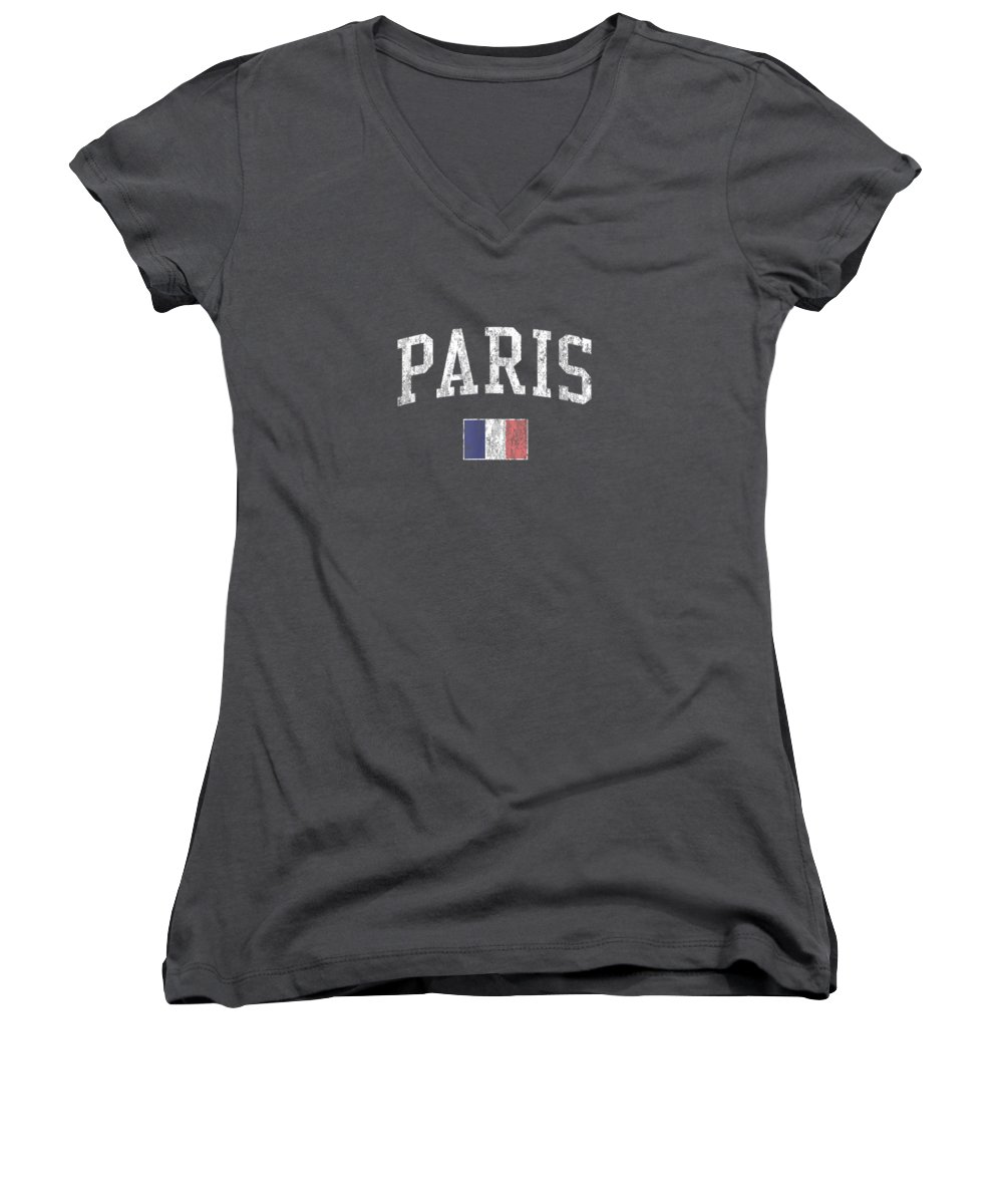 girls' Novelty Clothing Women's V-Neck featuring the digital art Paris France T-shirt Vintage Sports Design French Flag Tee by Unique Tees
