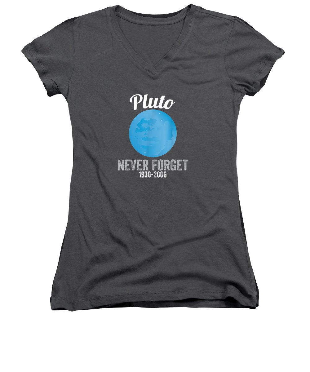 women's Shops Women's V-Neck featuring the digital art Pluto Never Forget T-shirt Funny Science Geek Nerd Tee Gift by Unique Tees