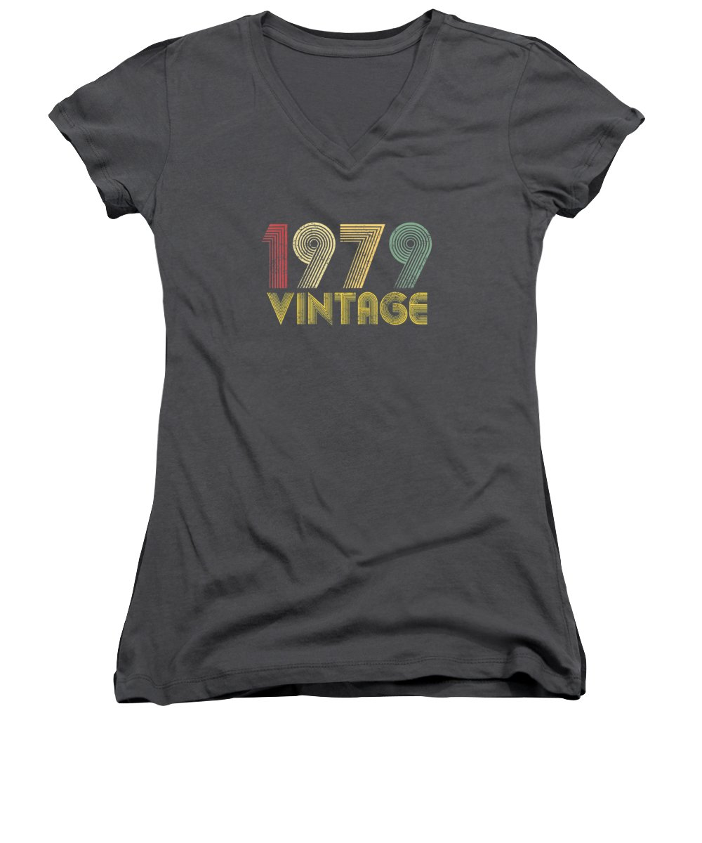 men's Novelty T-shirts Women's V-Neck featuring the photograph Vintage 1979 40th Birthday Gift 40 Years Old Funny T-shirt by Unique Tees