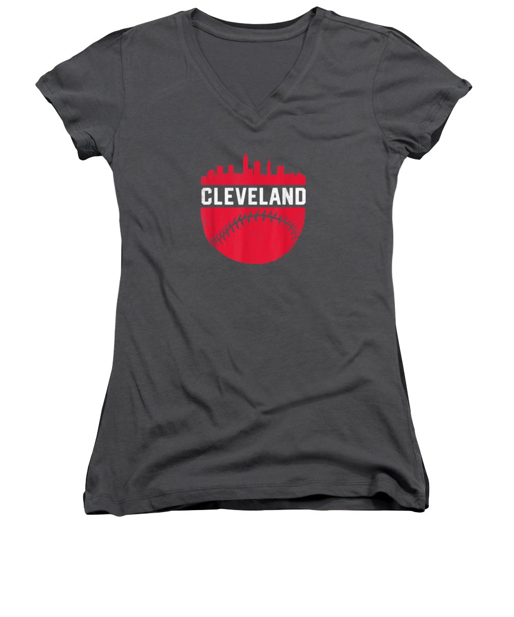 girls' Novelty Clothing Women's V-Neck featuring the digital art Vintage Downtown Cleveland Ohio Skyline Baseball T-shirt by Unique Tees