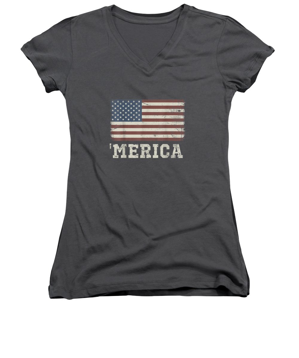 women's Shops Women's V-Neck featuring the digital art Vintage Usa Flag 'merica T-shirt by Unique Tees