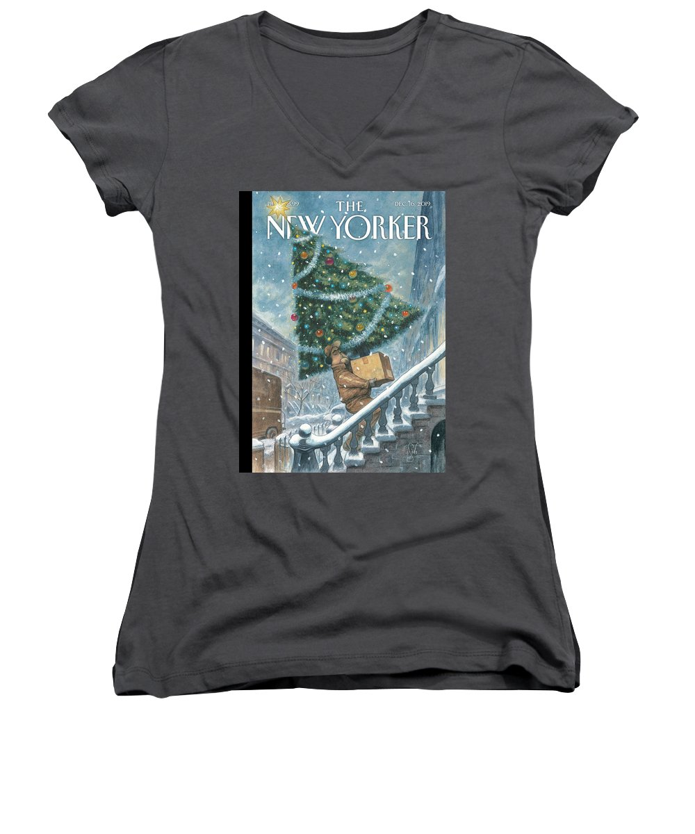 Priority Shipping Women's V-Neck featuring the painting Priority Shipping by Peter de Seve