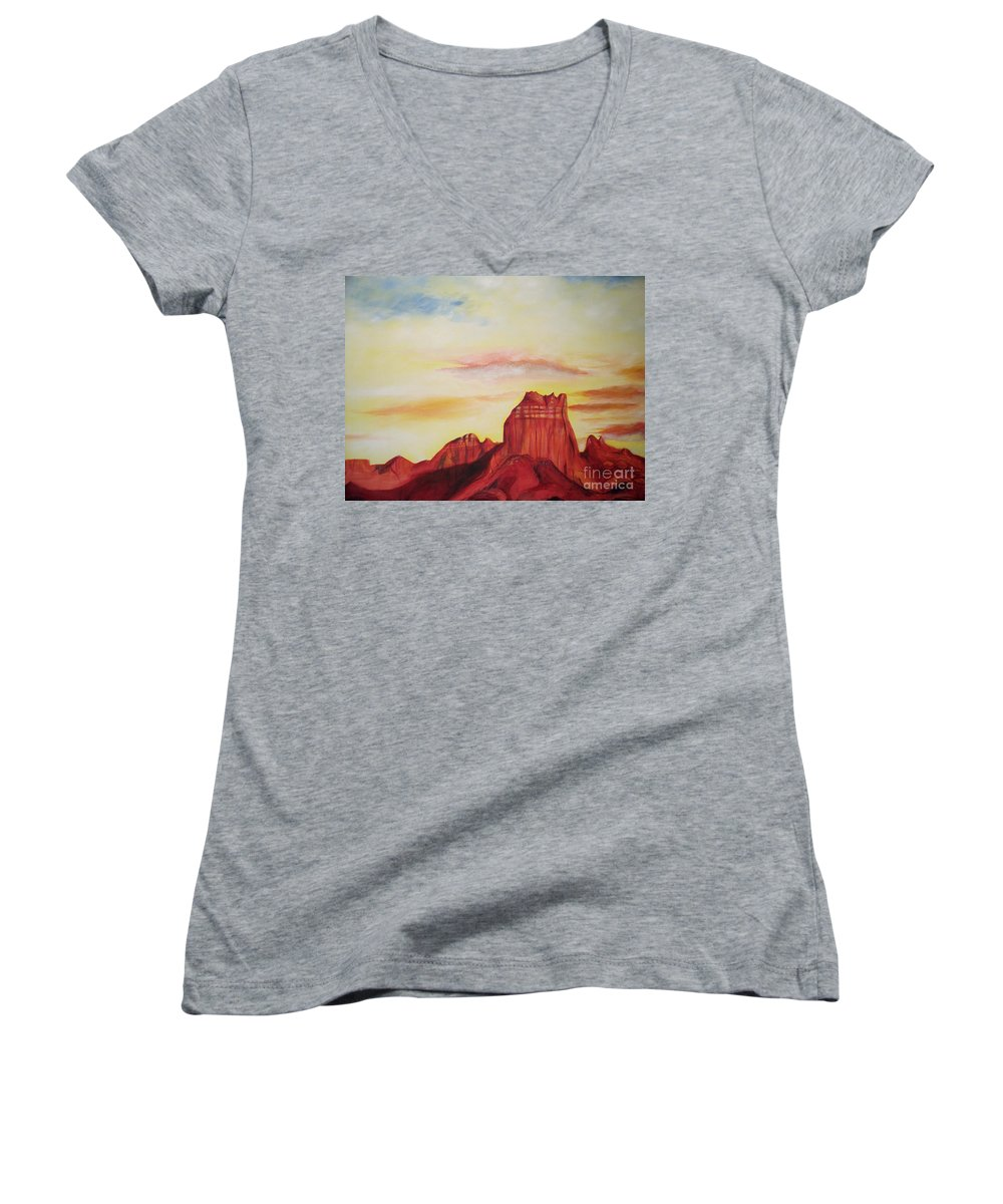 Western Women's V-Neck (Athletic Fit) featuring the painting Sedona Az by Eric Schiabor
