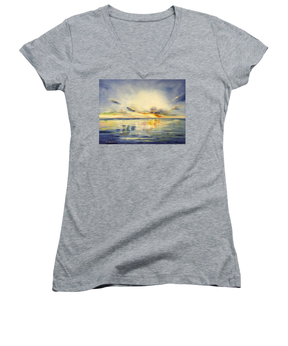 Blue Women's V-Neck (Athletic Fit) featuring the painting Blue Sunset by Gina De Gorna
