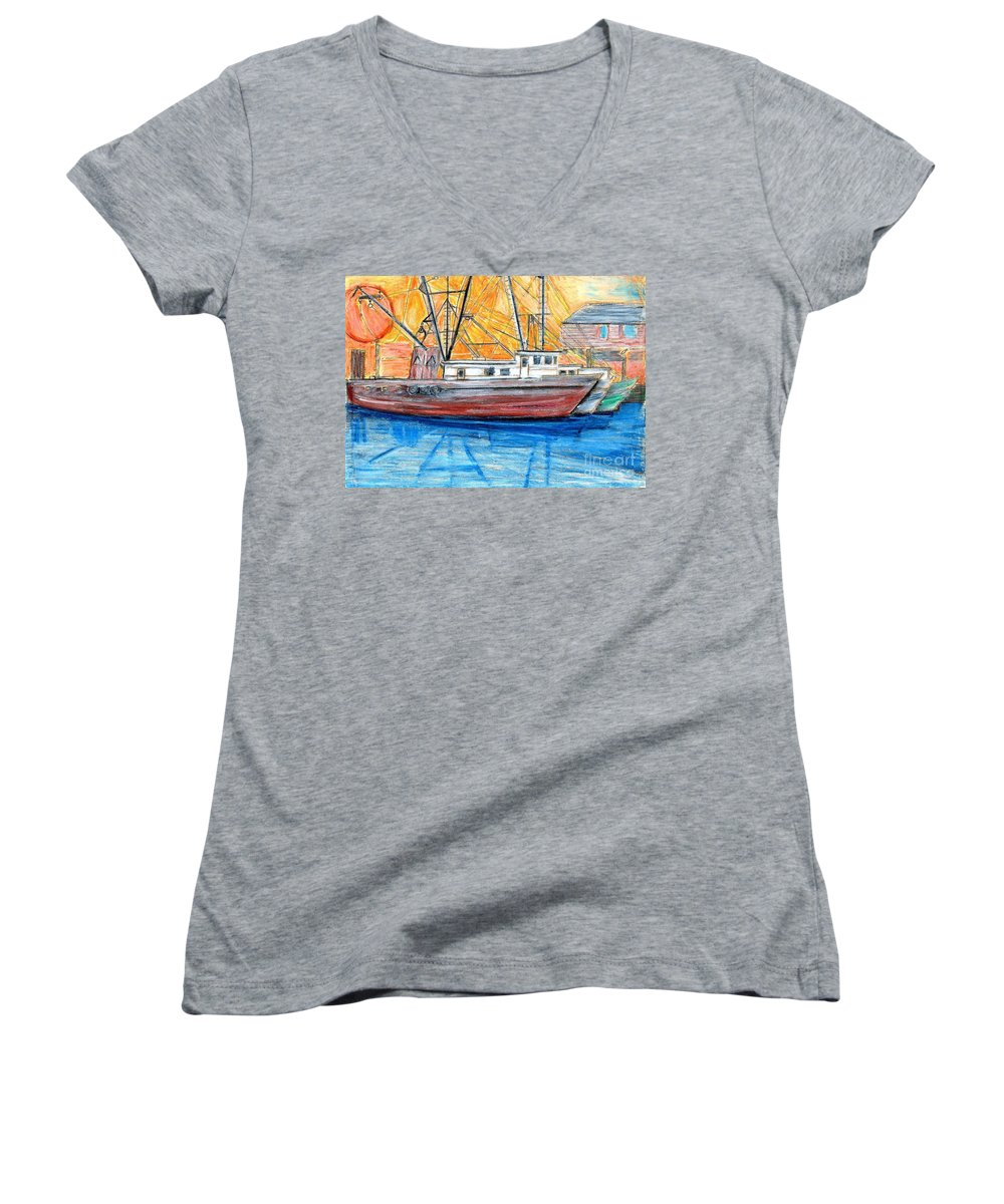 Fishing Women's V-Neck (Athletic Fit) featuring the drawing Fishing Trawler by Eric Schiabor