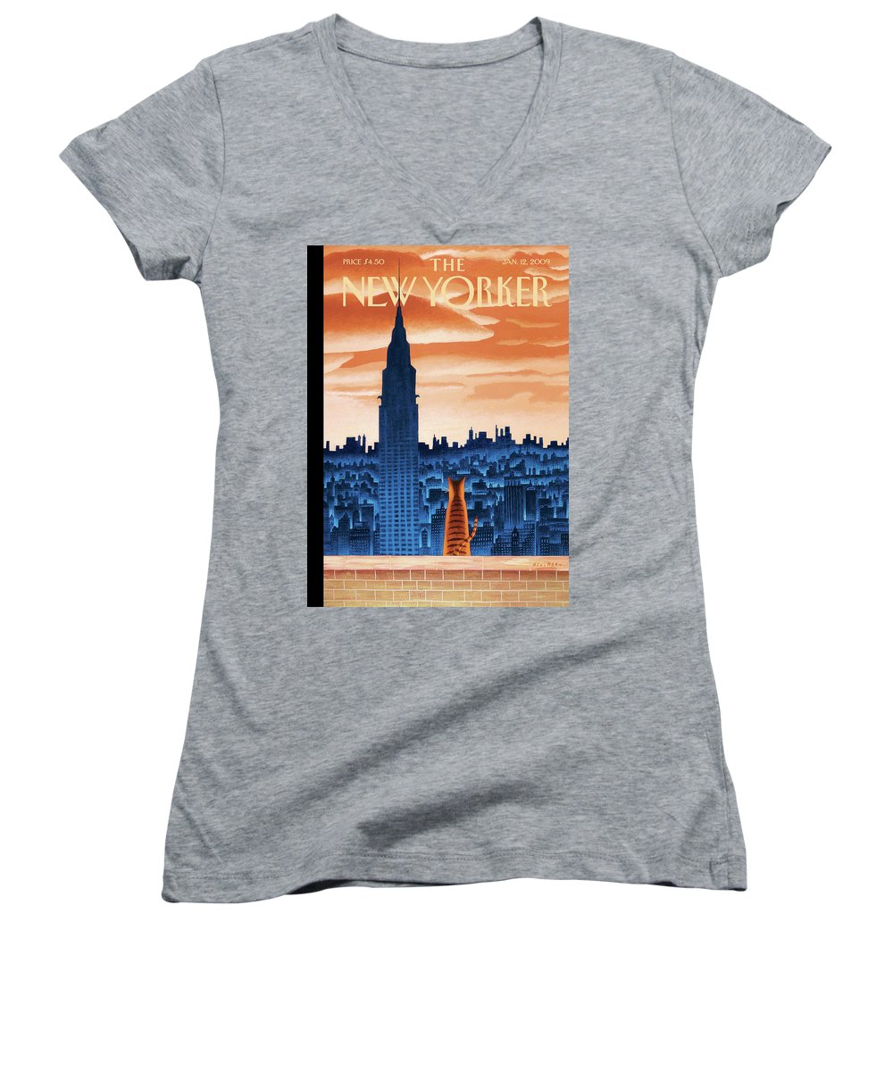 Nyc Women's V-Neck featuring the painting New Yorker January 12th, 2009 by Mark Ulriksen