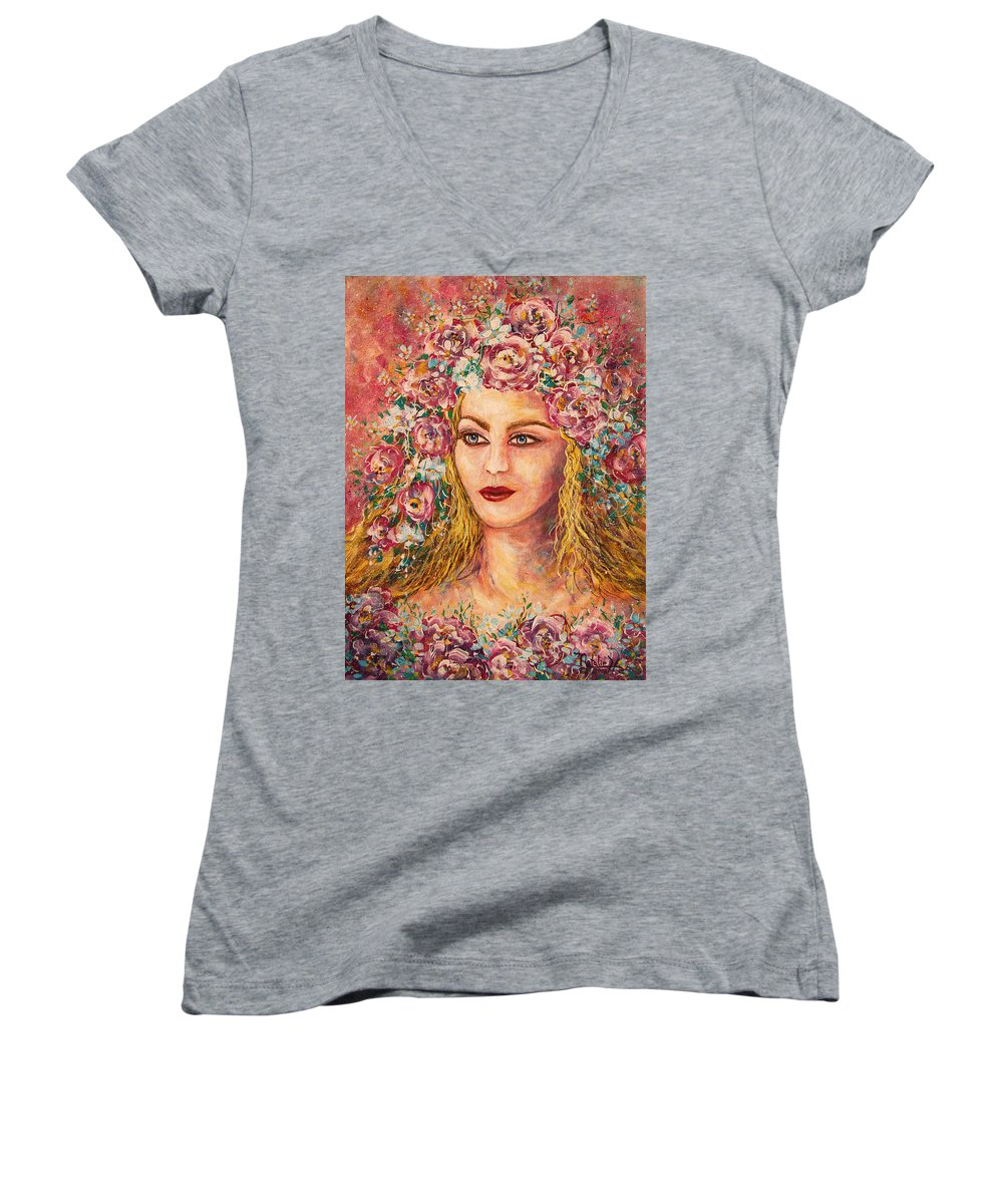 Goddess Women's V-Neck (Athletic Fit) featuring the painting Good Fortune Goddess by Natalie Holland