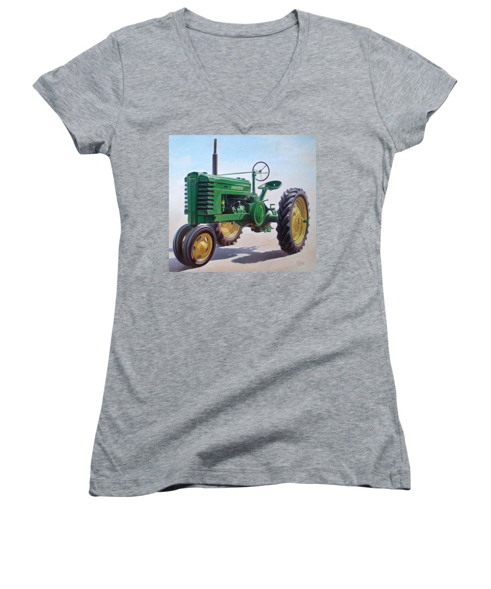 Tractor Women's V-Neck (Athletic Fit) featuring the painting John Deere Tractor by Hans Droog