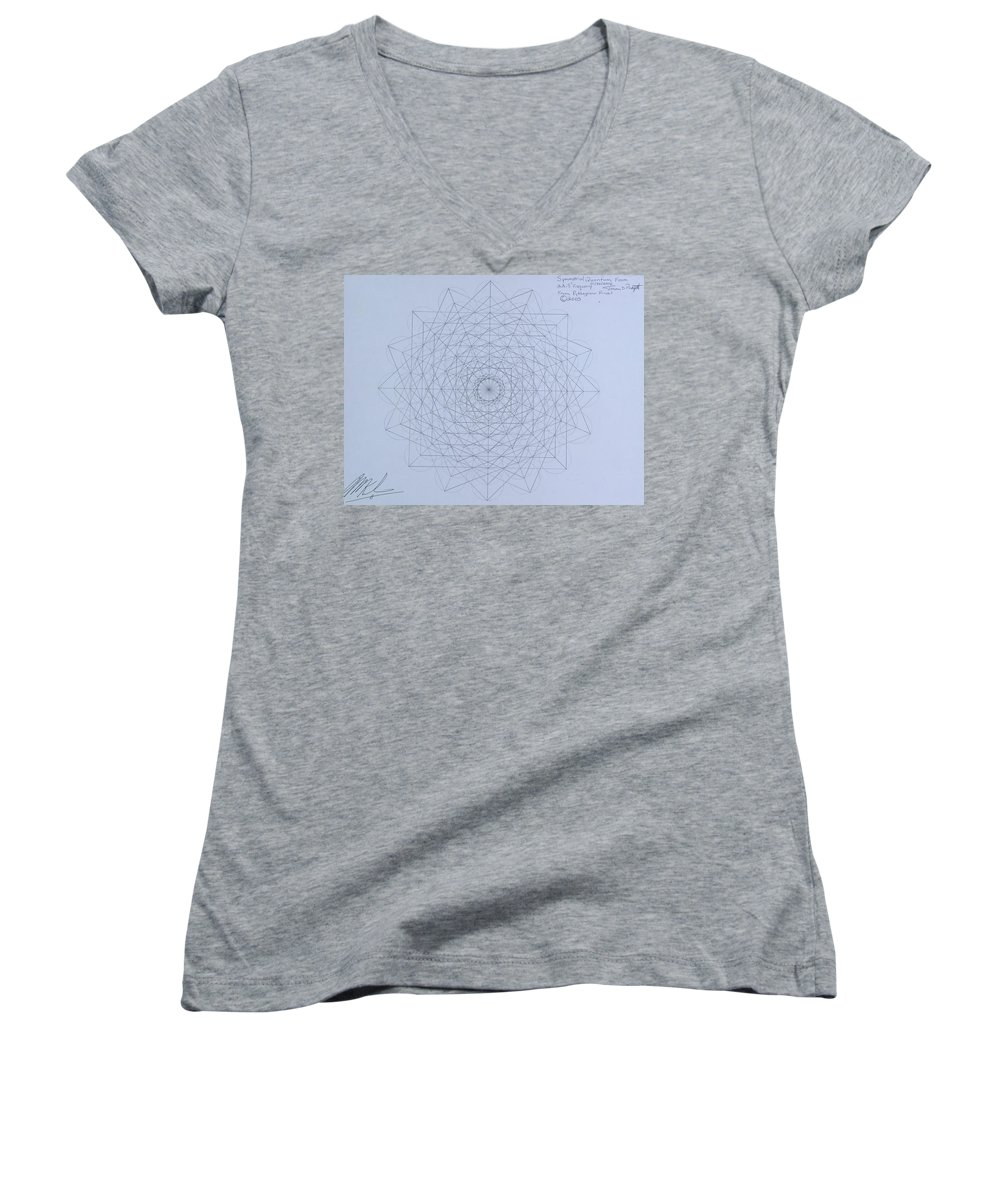 Jason Women's V-Neck (Athletic Fit) featuring the drawing Quantum Foam by Jason Padgett