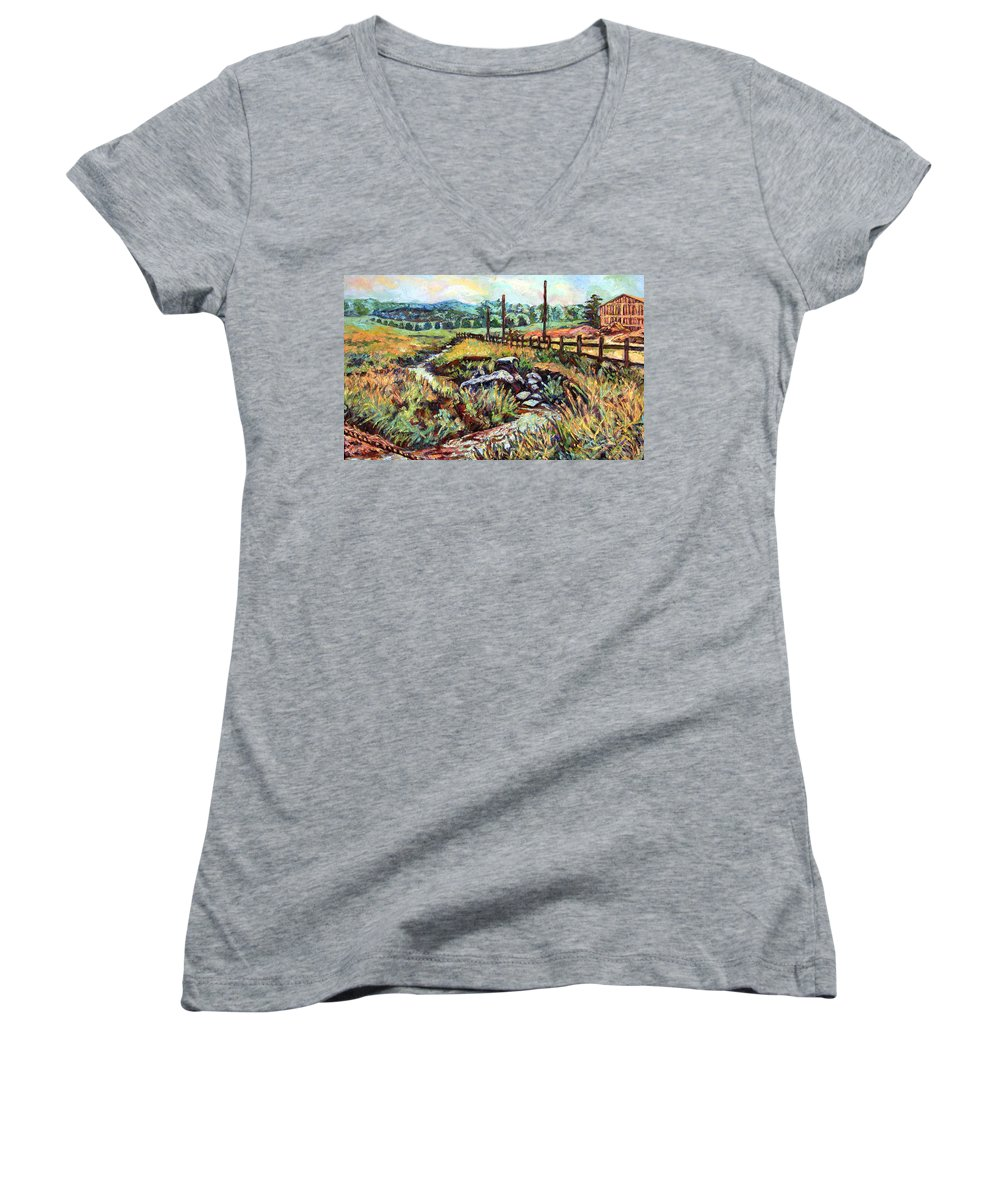 Landscape Paintings Women's V-Neck T-Shirt featuring the painting Stroubles Creek by Kendall Kessler