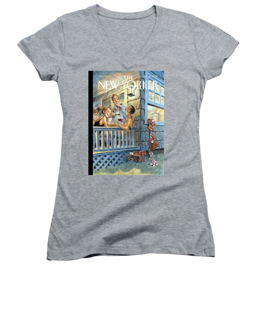 By Peter De Seve Women's V-Neck featuring the painting New Yorker July 28th, 2008 by Peter de Seve