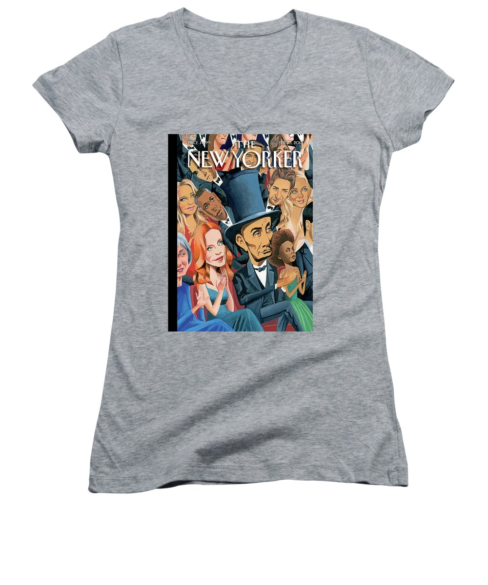 Oscars Women's V-Neck featuring the painting New Yorker February 25th, 2013 by Mark Ulriksen