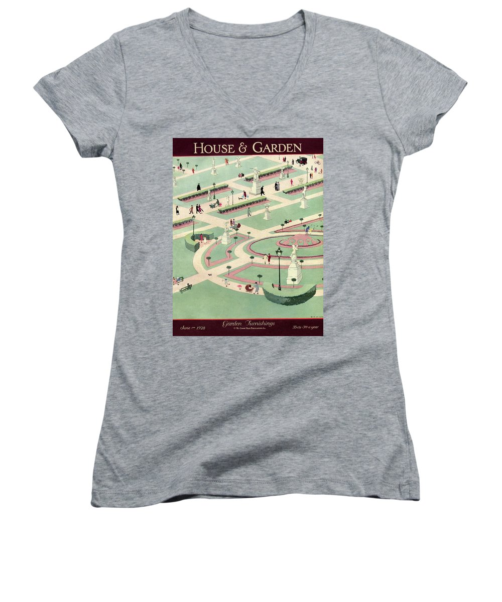 House And Garden Women's V-Neck featuring the photograph A Formally Designed Park by Marion Wildman