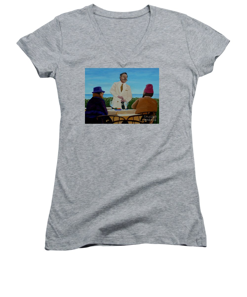 Wine Women's V-Neck T-Shirt featuring the painting A Fresh Bottle by Anthony Dunphy