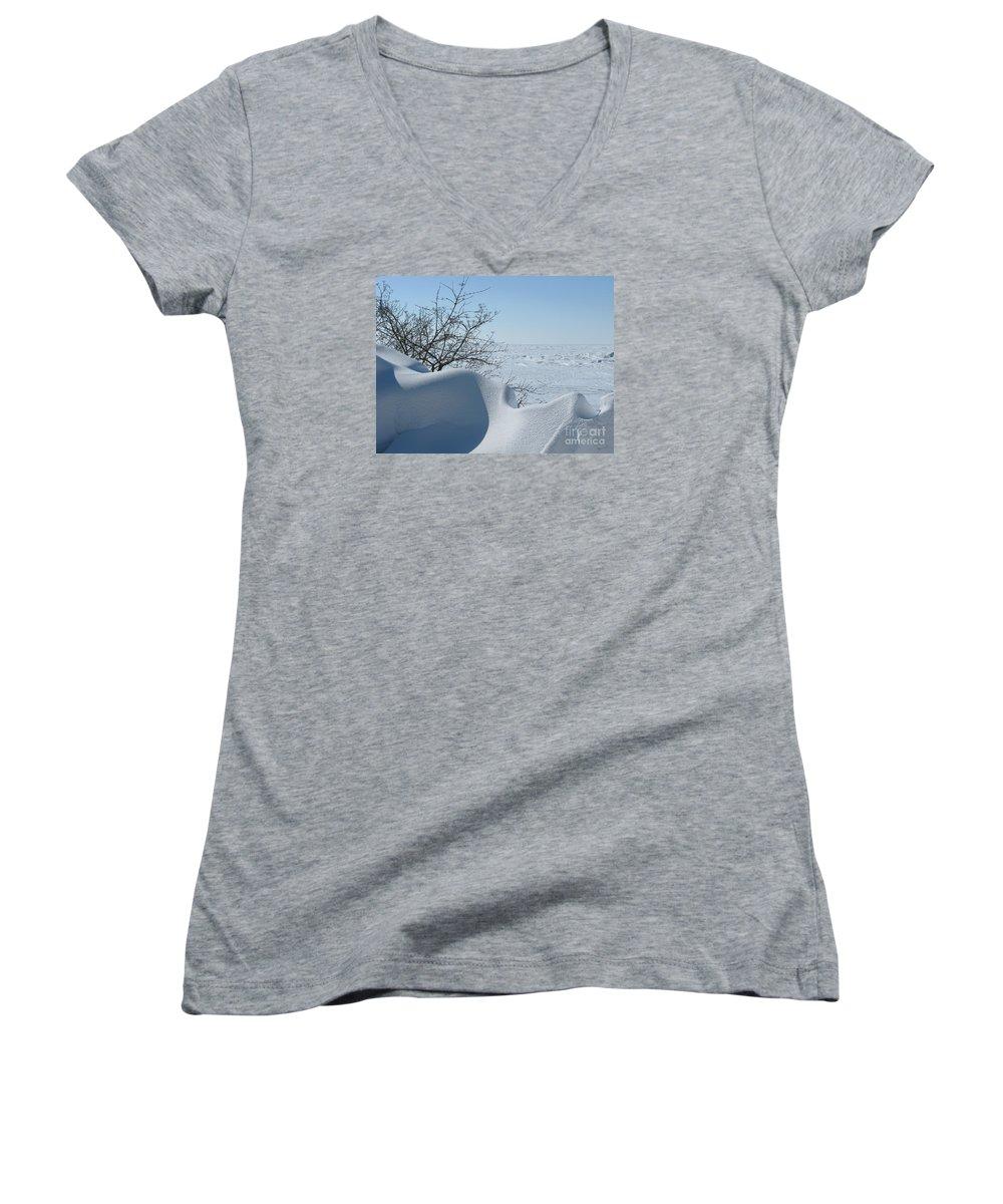 Winter Women's V-Neck T-Shirt featuring the photograph A Gentle Beauty by Ann Horn