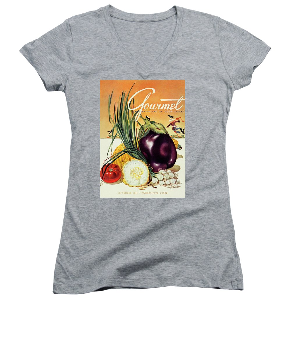 Food Women's V-Neck featuring the photograph A Gourmet Cover Of Vegetables by Henry Stahlhut