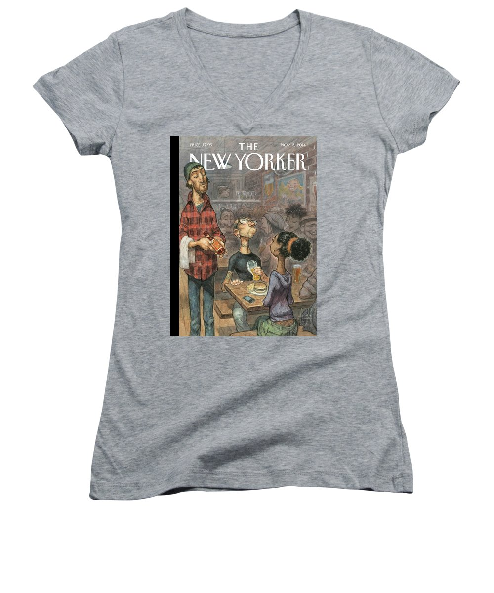 Elite Women's V-Neck featuring the painting Hip Hops by Peter de Seve