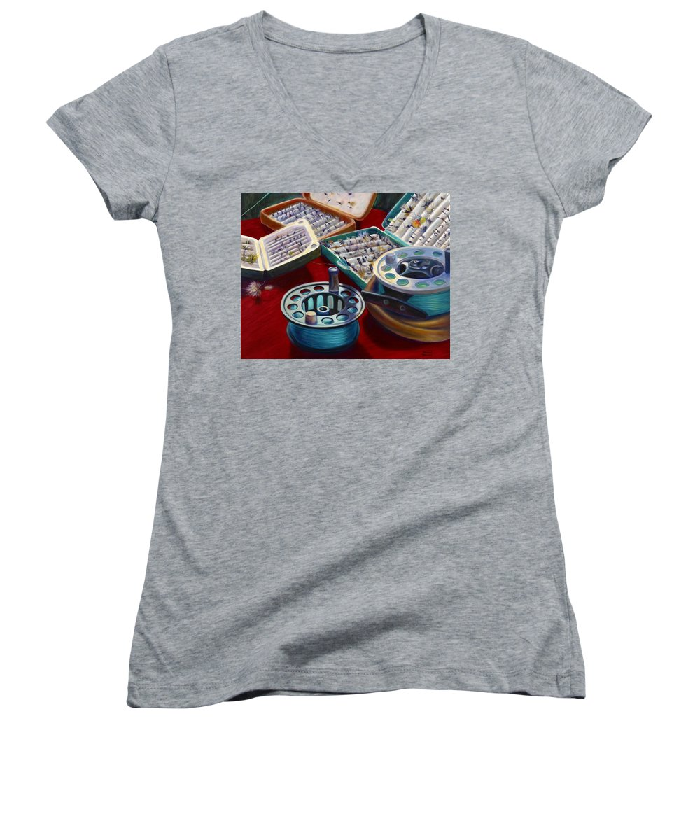 Still Life Women's V-Neck T-Shirt featuring the painting A Howard Runs Through It by Shannon Grissom