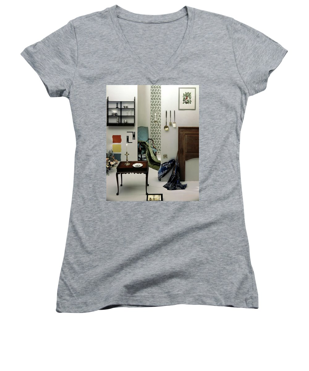 Virginia Women's V-Neck featuring the photograph A Living Room Designed By Raleigh Tavern by Herbert Matter