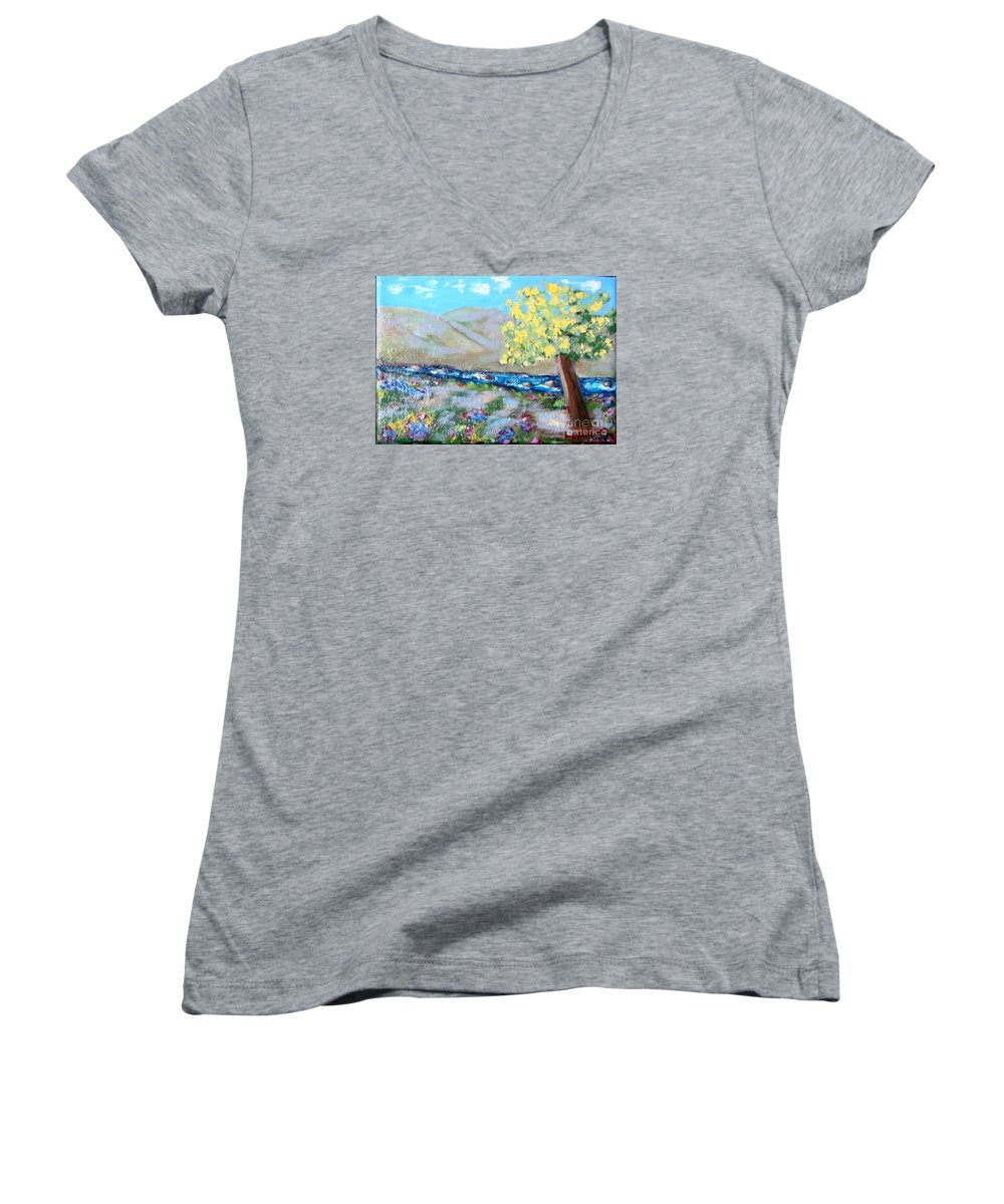 Landscapes Women's V-Neck T-Shirt featuring the painting A Quiet Place by Laurie Morgan