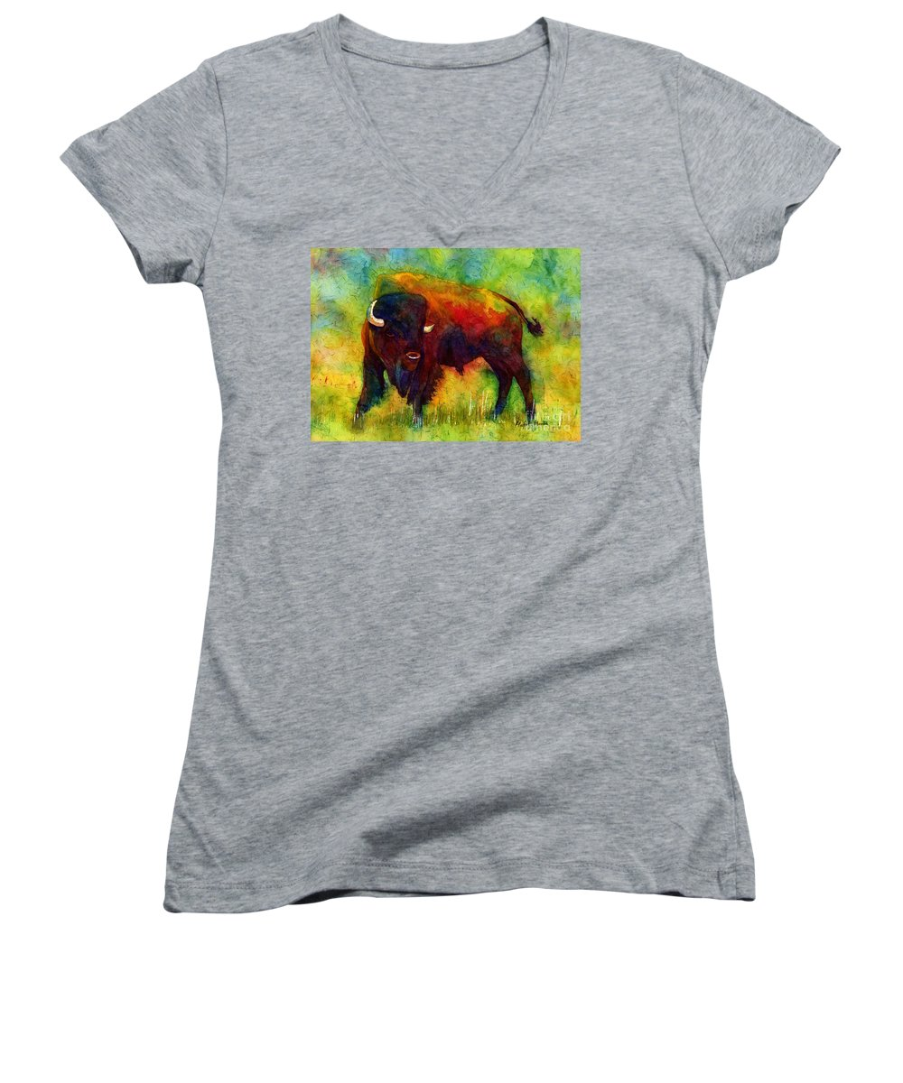 Bison Women's V-Neck featuring the painting American Buffalo by Hailey E Herrera
