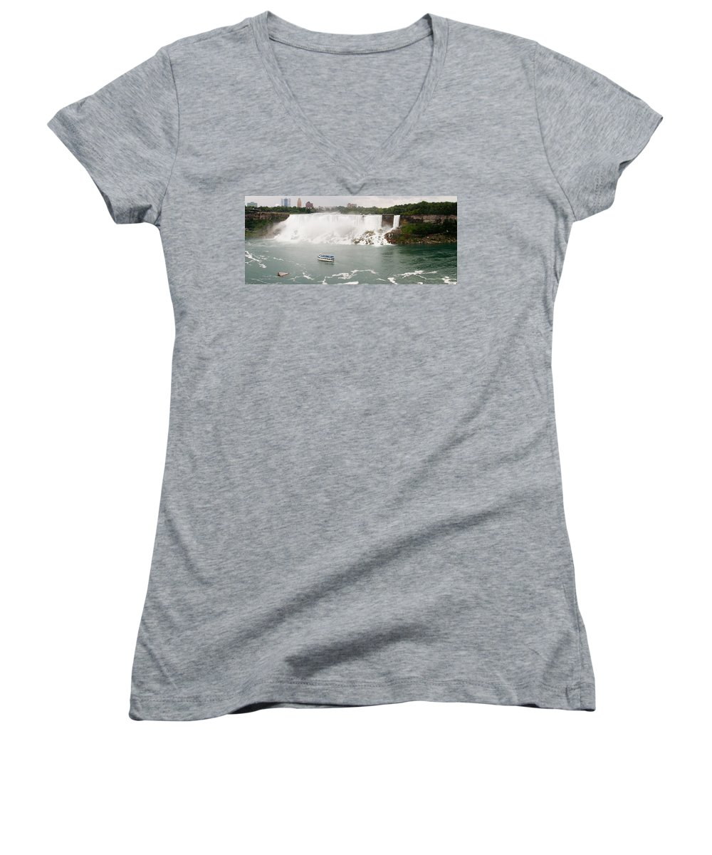 3scape Women's V-Neck T-Shirt featuring the photograph American Falls by Adam Romanowicz